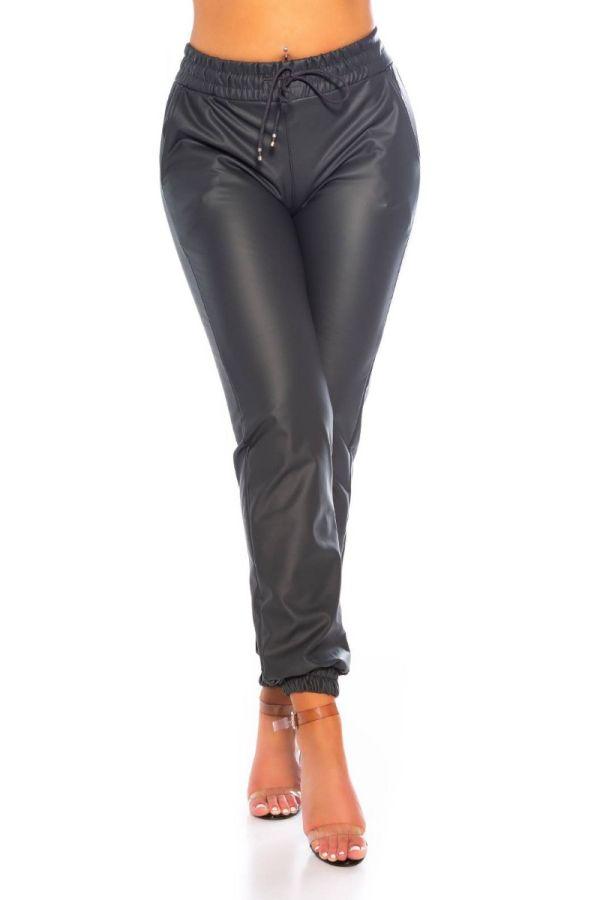 pants jogger style elastic waistband leatherette anthracite.