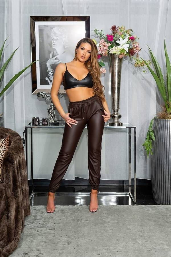 pants jogger style elastic waistband leatherette brown.