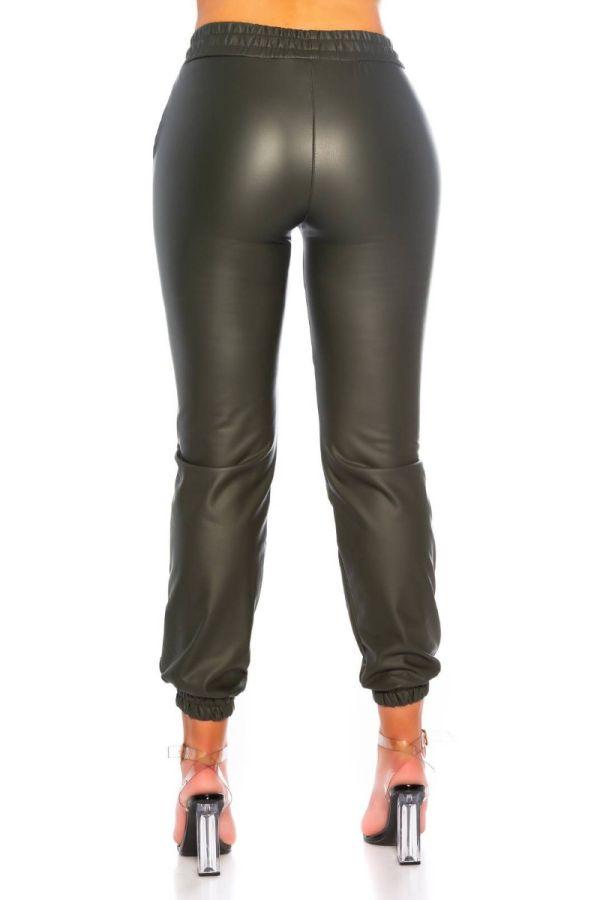 pants jogger style elastic waistband leatherette olive.