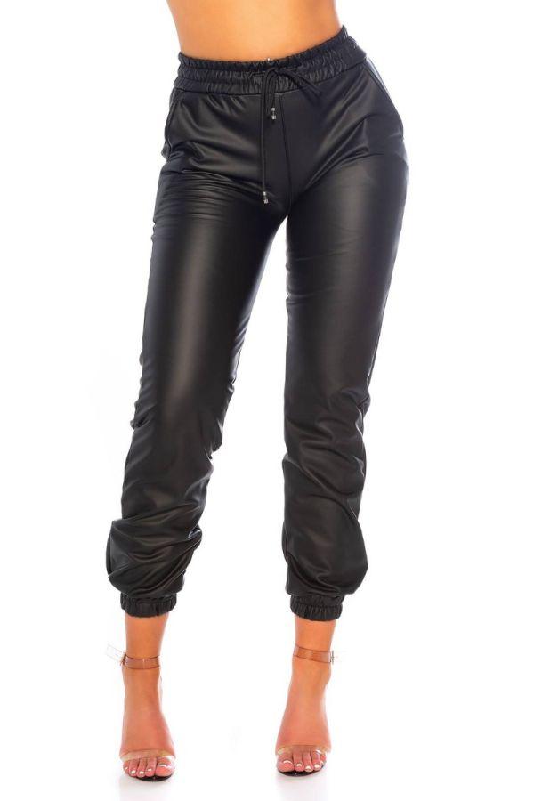 pants jogger style elastic waistband leatherette black.