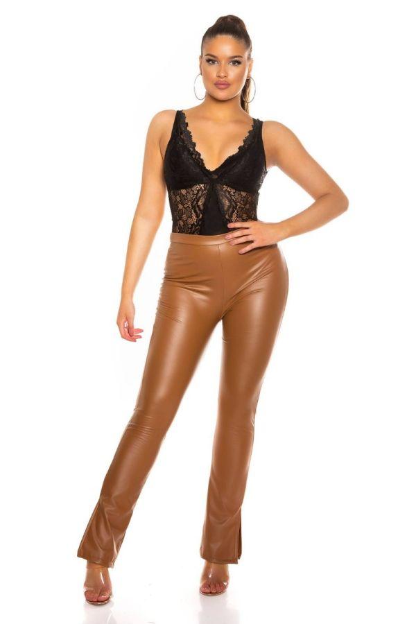 pants leatherette wide legs camel.