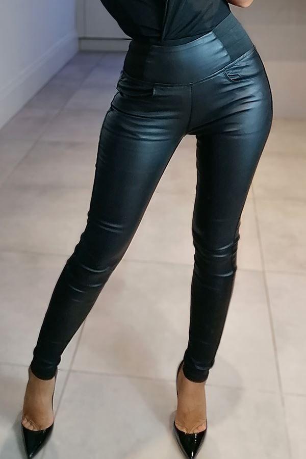 παντελόνι δερματίνη ελαστική μέση μαύρο.