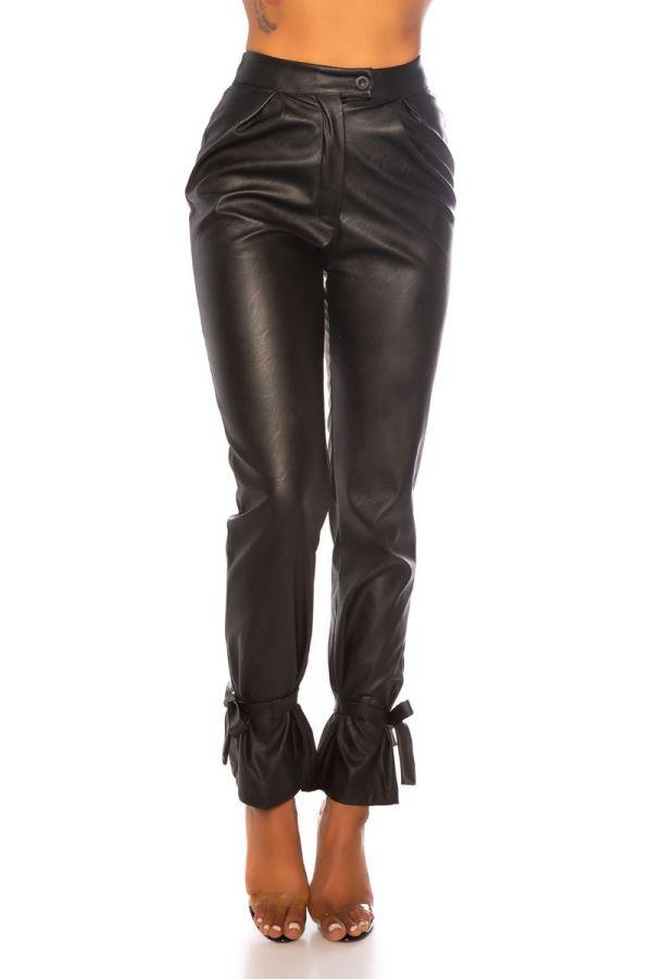 παντελόνι δερματίνη ψηλή μέση μαύρο.