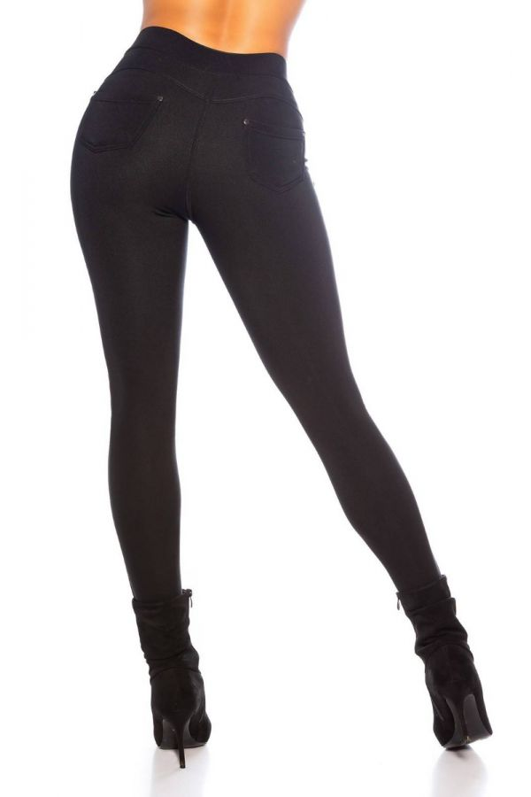 pants leatherette front thermo black.