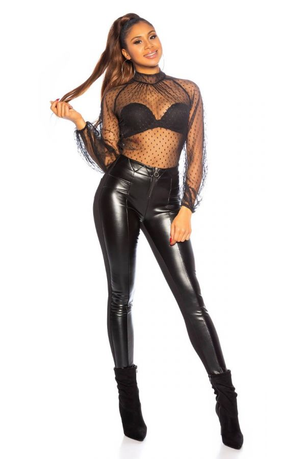 PANTS LEATHERETTE FRONT THERMO BLACK ISDE857027