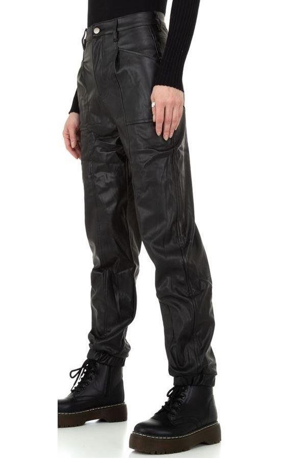 παντελόνι φαρδύ ψηλή μέση δερματίνη μαύρο.