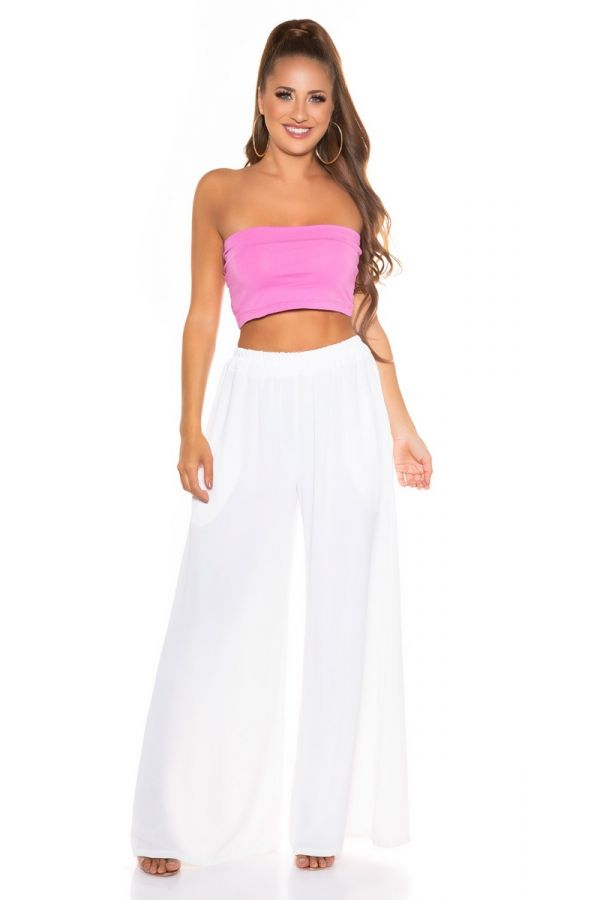 pants summer elasticated wide white.