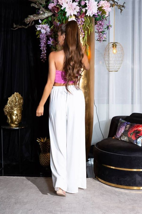 Pants Summer Elasticated Wide White ISDH761913