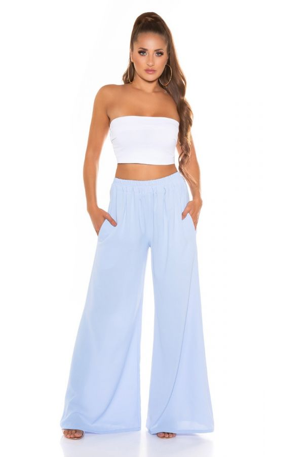 Pants Summer Elasticated Wide Baby Blue ISDH761913