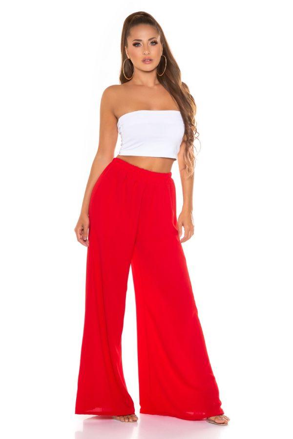 παντελόνι καλοκαιρινό φαρδύ λάστιχο κόκκινο.