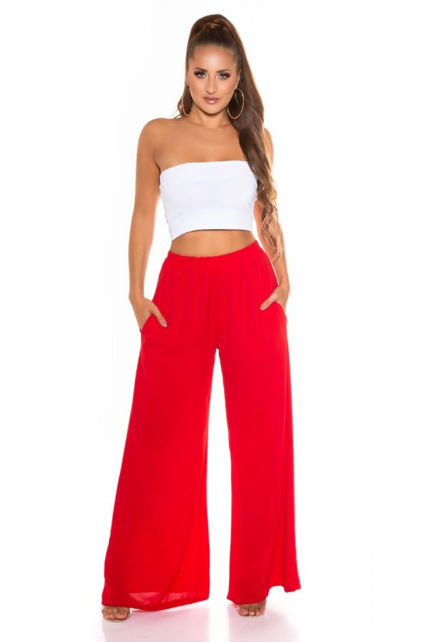 Pants Summer Elasticated Wide Red ISDH761913