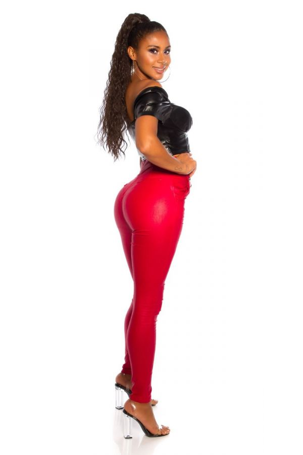 PANTS HIGH WAIST BUTTONS SHINY RED ISDH96057