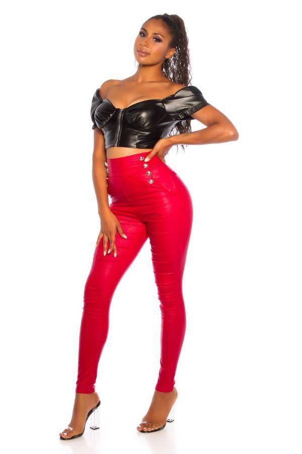 παντελόνι ψηλή κουμπιά γυαλιστερό κόκκινο.