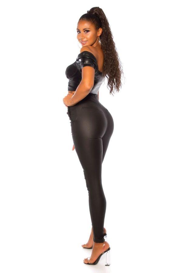 παντελόνι ψηλή κουμπιά γυαλιστερό μαύρο.