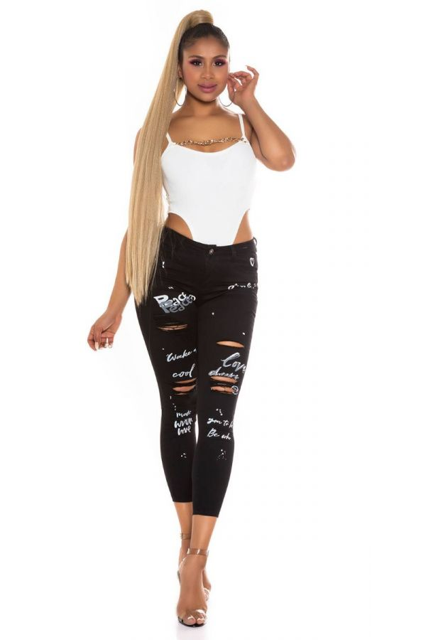 pants jeans prints cutouts black.