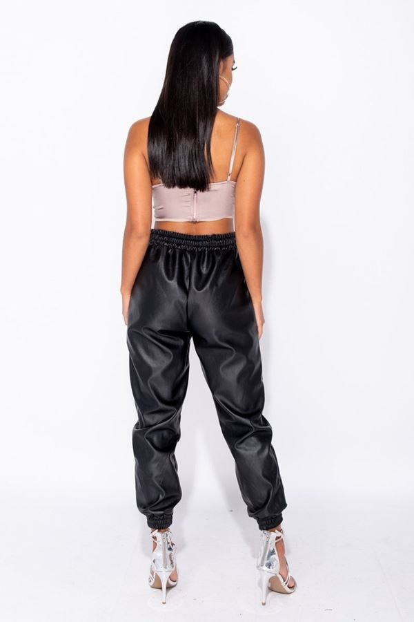 trousers jogging leatherette black.