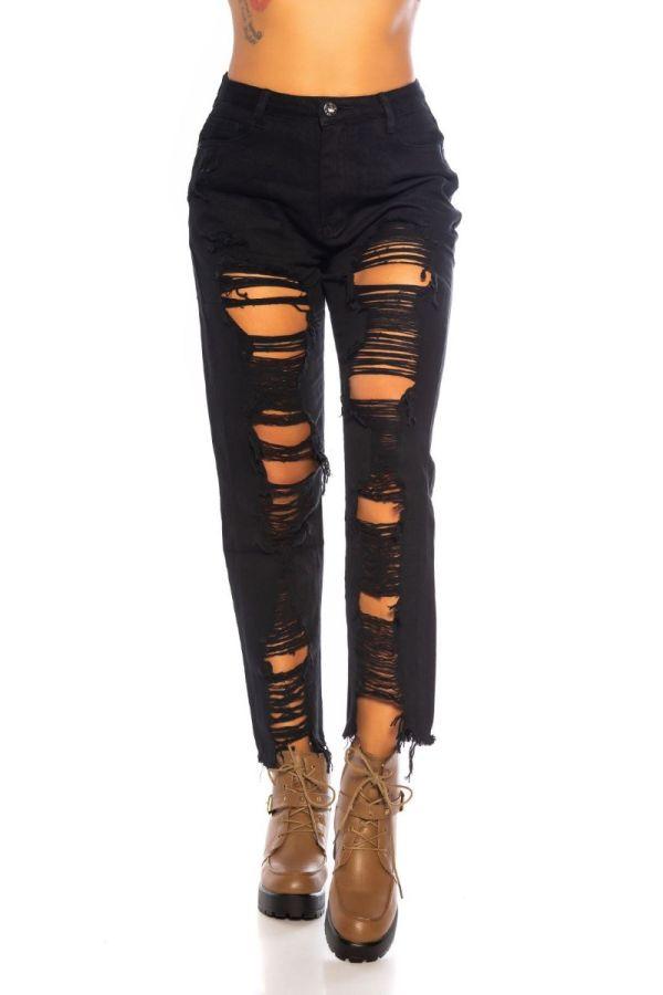 παντελόνι mom jeans σκισίματα μαύρο.