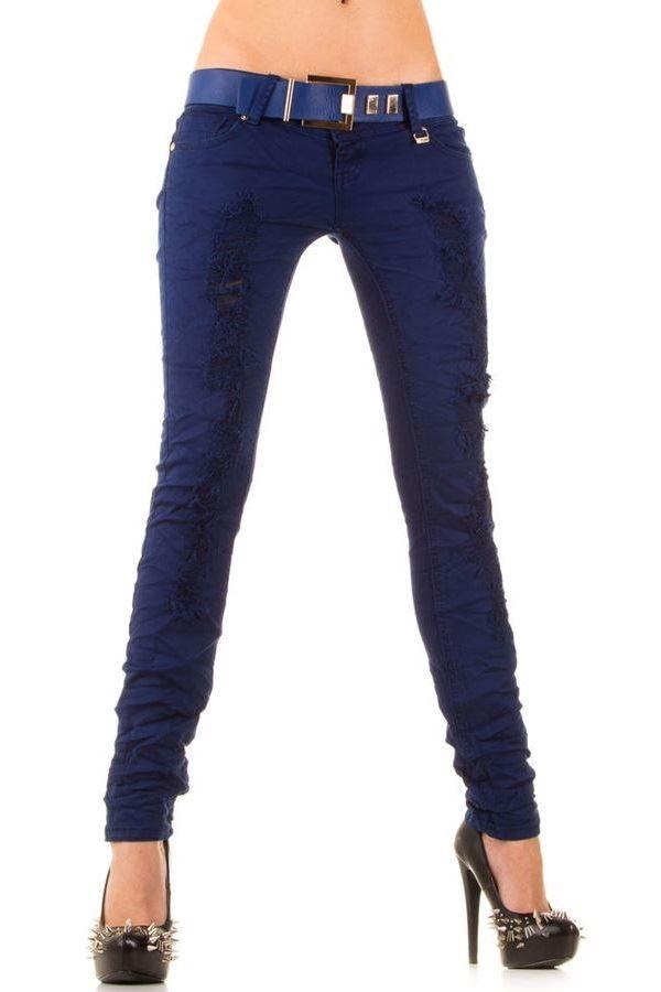 παντελόνι βαμβακερό με σκισίματα και ζώνη μπλε