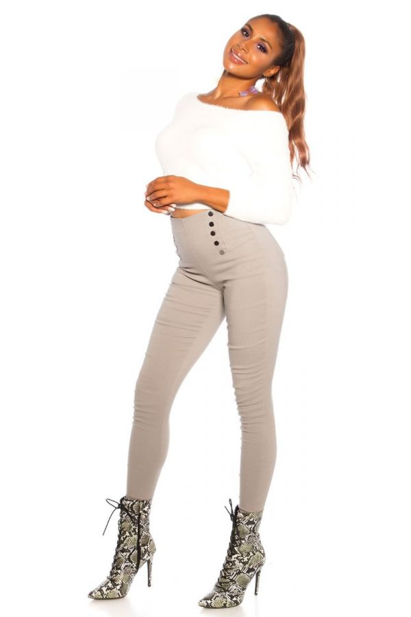 παντελόνι ψηλή μέση διακόσμηση γκρι.