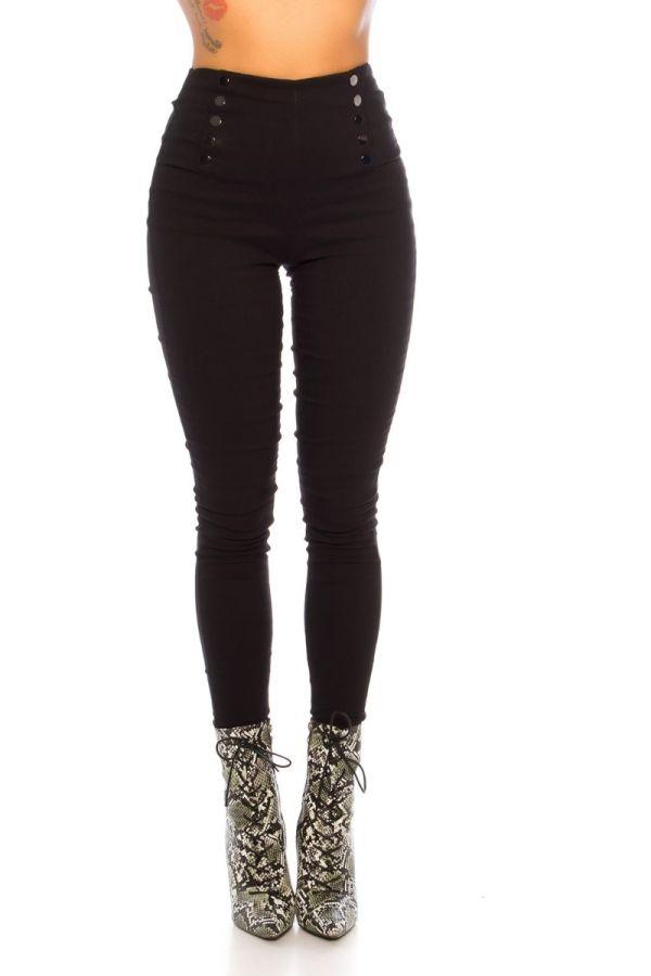 παντελόνι ψηλή μέση διακόσμηση μαύρο.