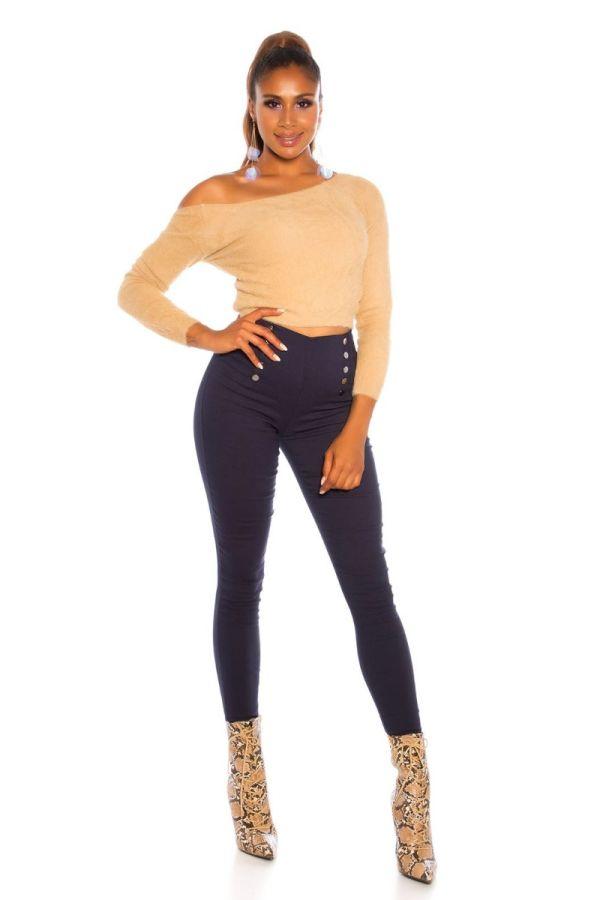 παντελόνι ψηλή μέση διακόσμηση μπλε.