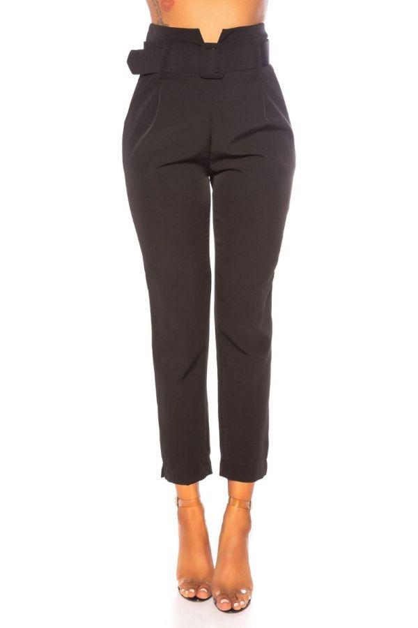 παντελόνι ψηλή μέση ζώνη μαύρο.