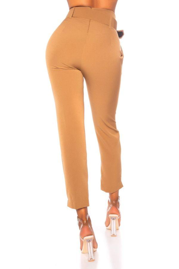 παντελόνι ψηλή μέση ζώνη μπεζ.