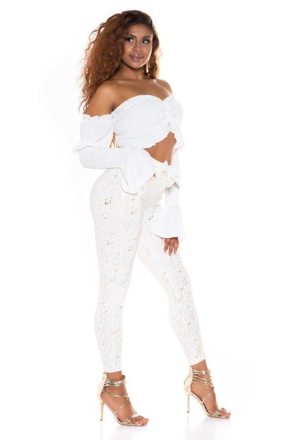 highwaist pants belt gold print white.