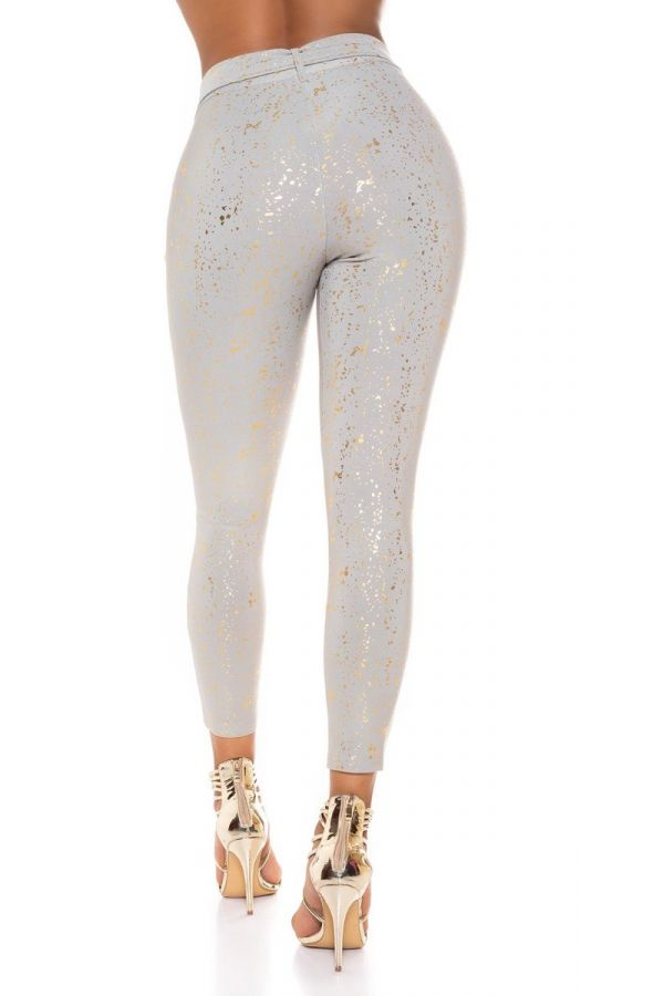 παντελόνι ψηλόμεσο ζώνη χρυσό τύπωμα γκρι.