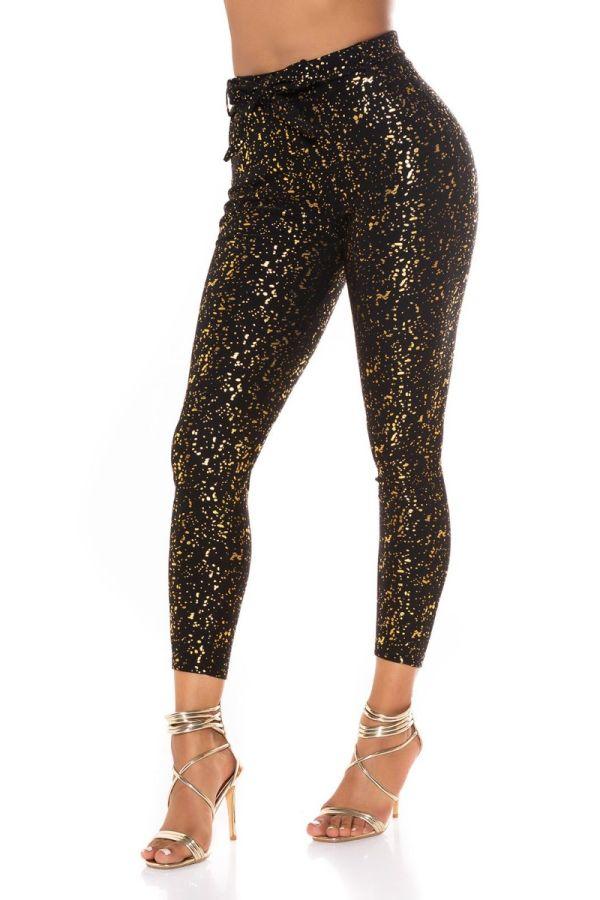 highwaist pants belt gold print black.