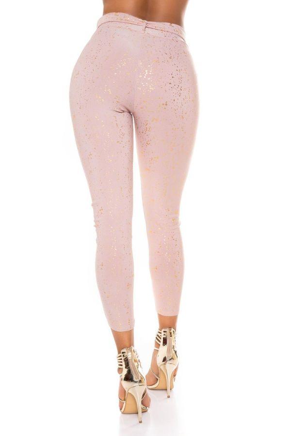 highwaist pants belt gold print pink.