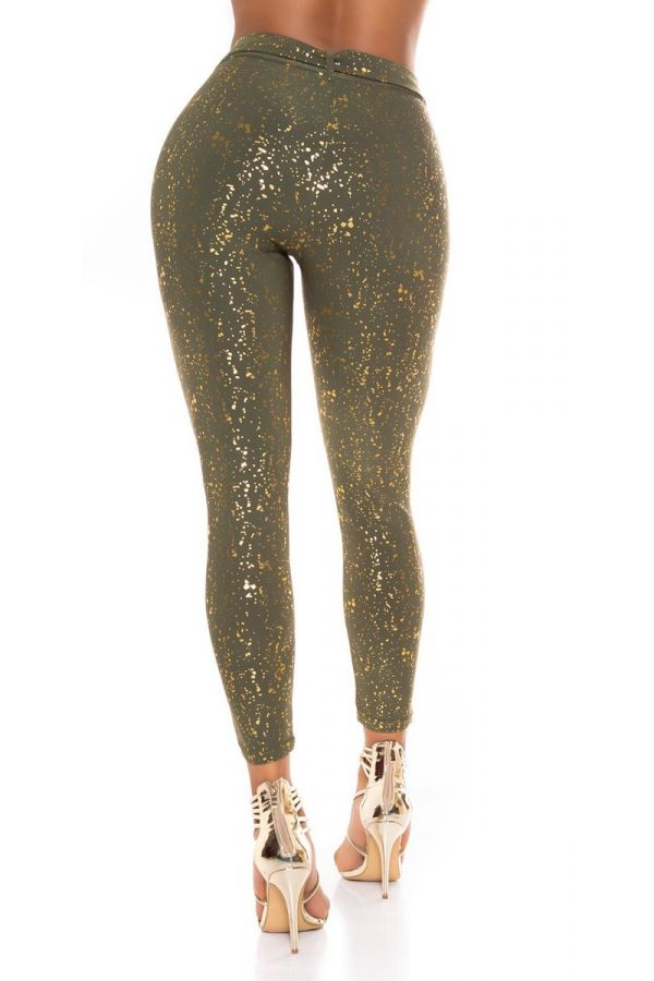 highwaist pants belt gold print khaki.