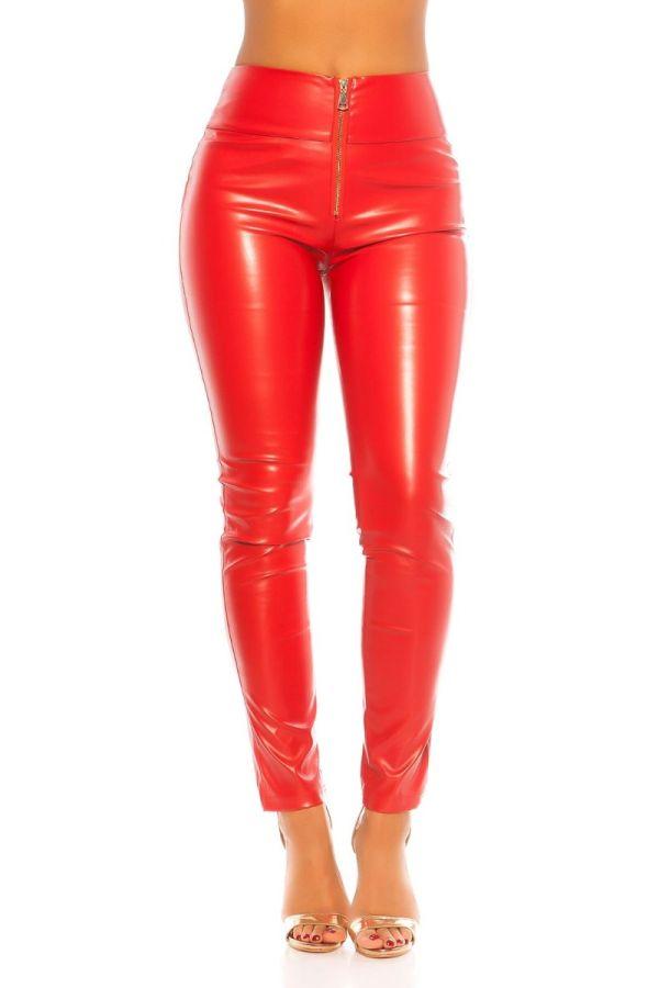 παντελόνι σέξι φερμουάρ δερματίνη κόκκινο.