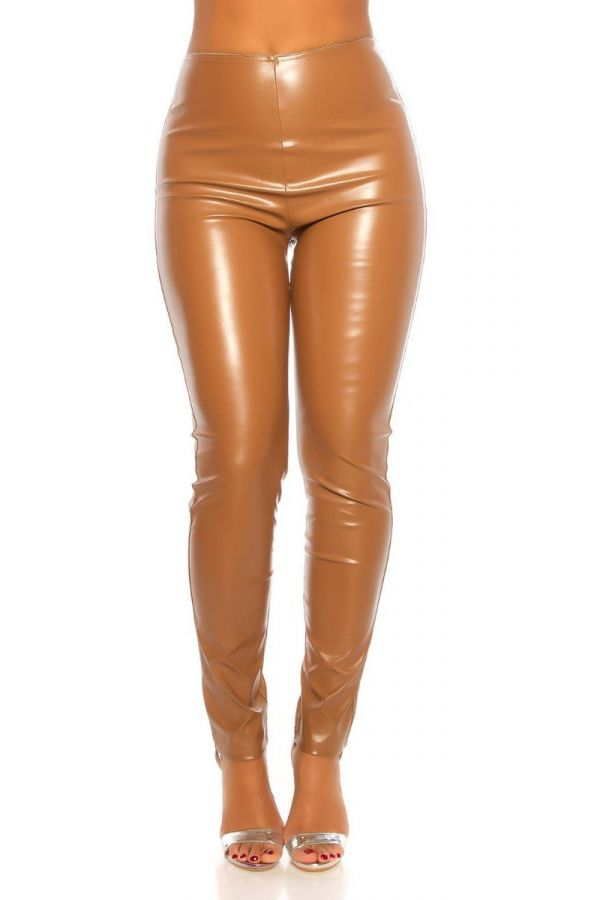 trousers leatherette sexy high waist camel.
