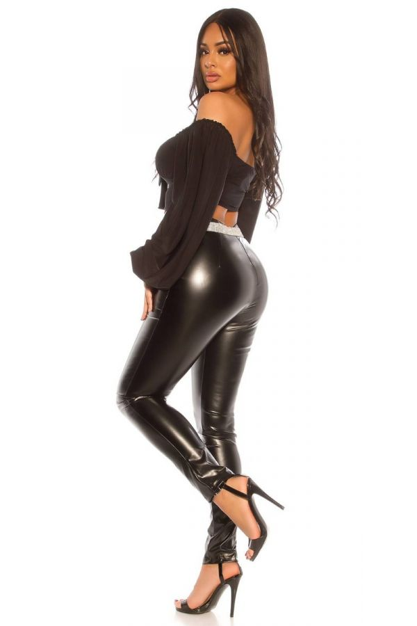trousers leatherette sexy high waist black.