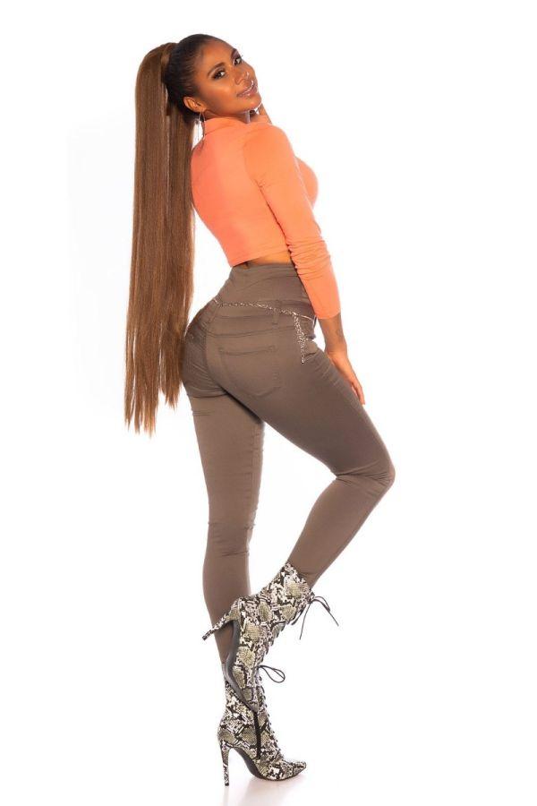 παντελόνι ψηλή μέση σέξι χακί.