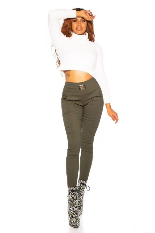 TROUSERS SKINNY BUCKLE OLIVE ISDH36871