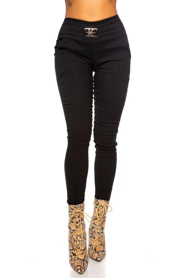 παντελόνι skinny αγκράφα μαύρο.