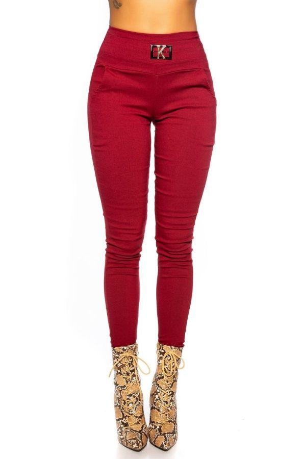 παντελόνι skinny αγκράφα μπορντό.
