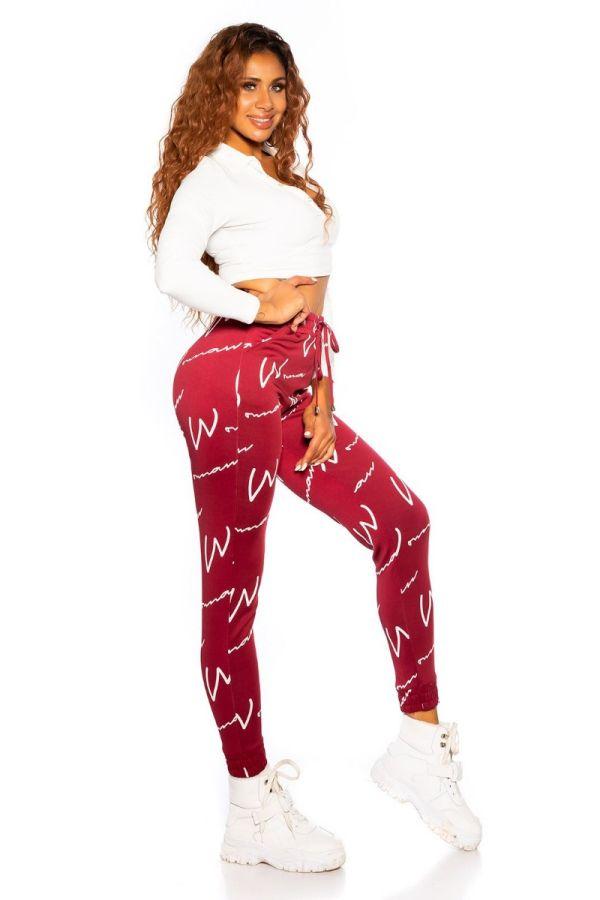 παντελόνι σπορ λάστιχο κορδόνια μπορντό.