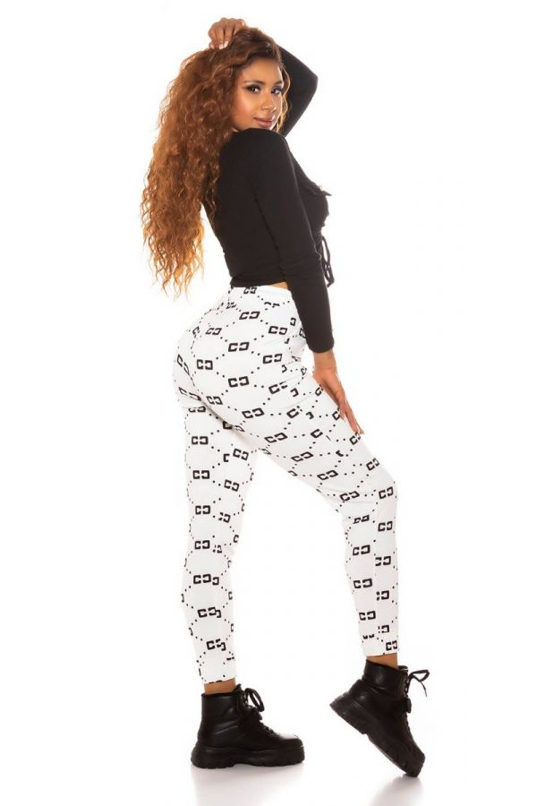 pants sport elastic waist band black prints white.