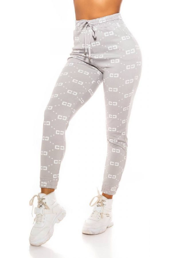 pants sport elastic waist band white prints grey.
