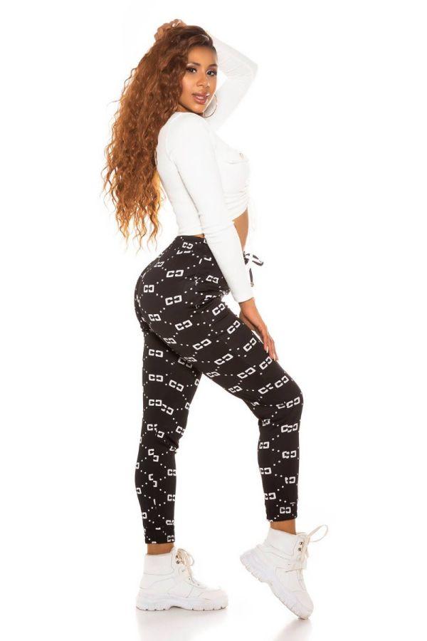 pants sport elastic waist band white prints black.