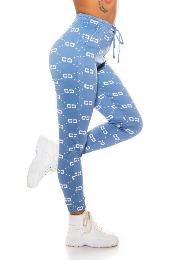 pants sport elastic waist band white prints blue.