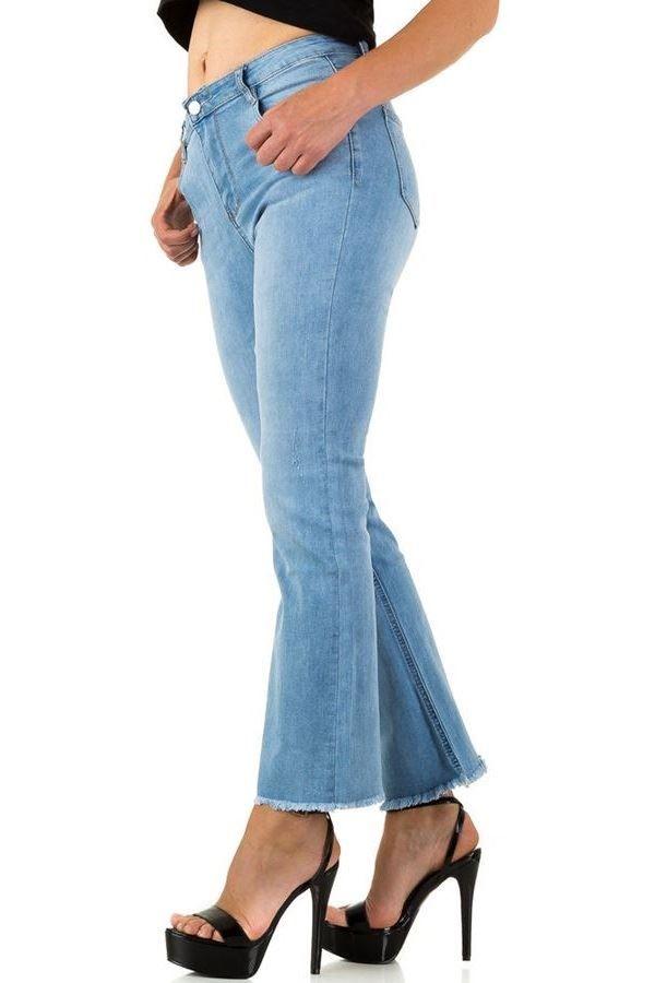 παντελόνι τζιν καμπάνα ξέφτια ξεβαμμένο ανοιχτό μπλε.