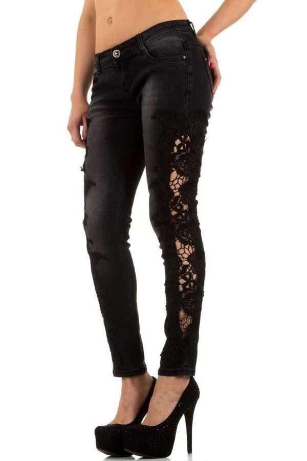 παντελόνι τζιν μαύρο με δαντέλα