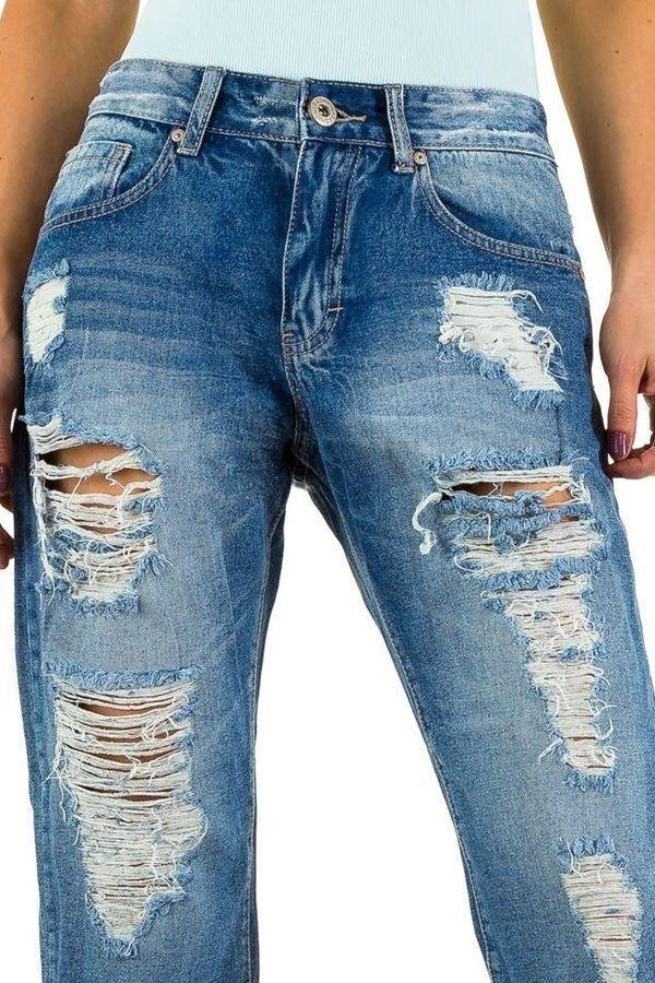 παντελόνι mom τζιν φαρδύ κοντό σκισίματα μπλε.