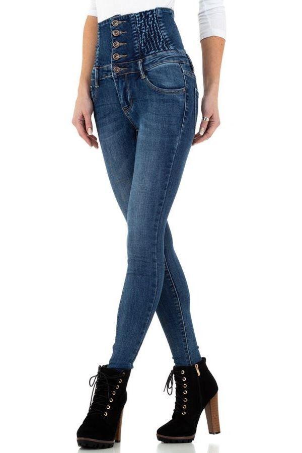 τζιν παντελόνι ψηλή μέση λάστιχο μπλε.