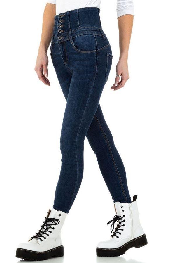 τζιν παντελόνι ψηλή μέση φερμουάρ πίσω μπλε.