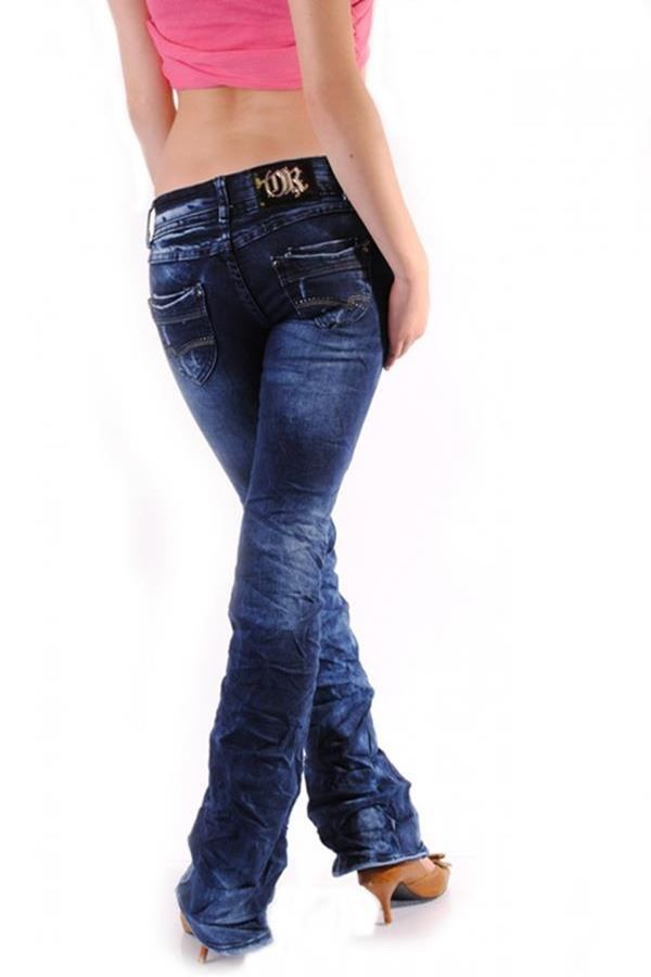 παντελόνι τζιν μπλε καμπάνα με σκισίματα και στρας